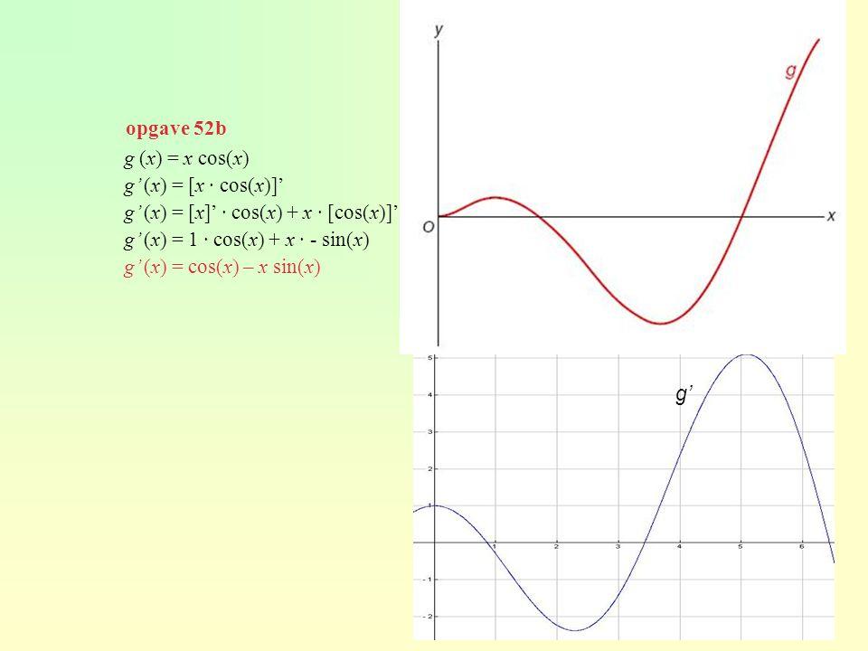 opgave 52b g (x) = x cos(x) g' (x) = [x · cos(x)]' g' (x) = [x]' · cos(x) + x · [cos(x)]' g' (x) = 1 · cos(x) + x · - sin(x)